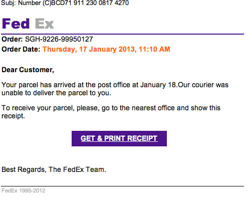 warning fed ex and the infamous email virus